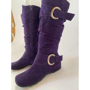 Jester Purple Suede Look Boots Sz 7.5